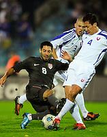 Clint Dempsey battles for the ball. Slovakia defeated the US Men's National Team 1-0 at the Tehelne Pole in Bratislava, Slovakia on November 14th, 2009.