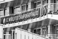 World Test championship Final banner displayed on the hotel at the Hampshire Bowl during a training session ahead of the ICC World Test Championship Final at the Hampshire Bowl on 17th June 2021