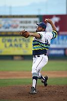Anjul Hernandez (48) of the Everett AquaSox pitches against the Boise Hawks at Everett Memorial Stadium on July 21, 2017 in Everett, Washington. Boise defeated Everett, 10-4. (Larry Goren/Four Seam Images)