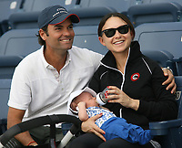 WELLINGTON, FL - JANUARY 26:  (EXCLUSIVE COVERAGE) Mike Bloomberg's grandson Jasper Michael Brown Quintain enjoys his first day of horse jumping at the FTI Winter Equestrian Festival at the Palm Beach International Equestrian Center along with his beaming parents who could not have looked any happier, mom Georgina Bloomberg and dad Ramiro Quintana on January 26, 2014 in Wellington, Florida.  <br /> <br /> People:  Georgina Bloomberg, Jasper Michael Brown Quintaina, Ramiro Quintana