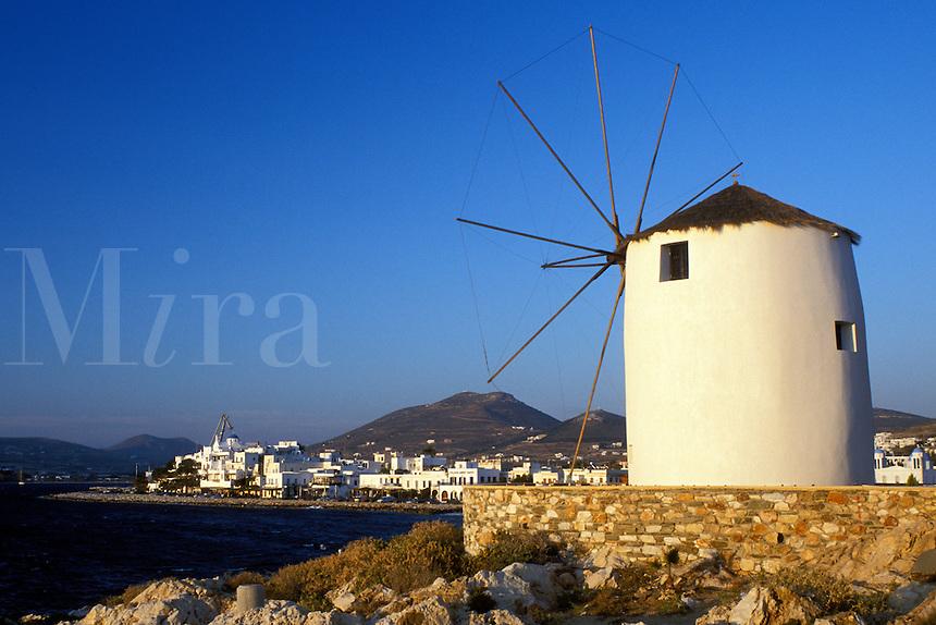 Paros, Parikia, Greece, Cyclades, Greek Islands, Europe, Windmill along the waterfront in the harbor of Parikia on Paros Island on the Aegean Sea.