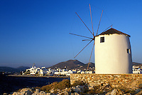 Paros, Parikia, Greece, Cyclades, Greek Islands, Europe, Windmill along the waterfront in the harbor of Parikia on Paros Island on the Aegean Sea.
