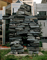 Montreal (Qc) CANADA - 1998 file photo - <br /> Inukshuk  on Sherbrooke street in downtown Montreal.<br /> <br /> PHOTO :  Agence Quebec Presse