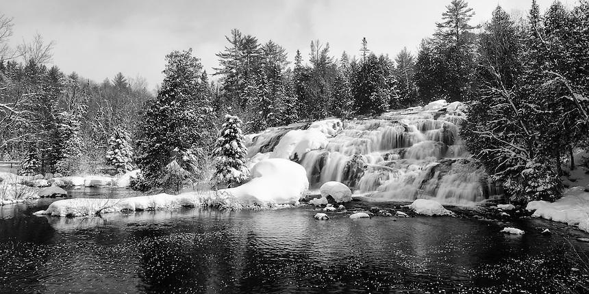 A panoramic view of beautiful Bond Falls after a fresh snowfall. Paulding, MI