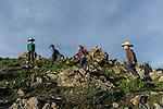 Kids hiking the mountain top. At the ranch in San Luis Obispo, California