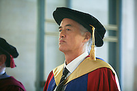 University Graduation Day.  Jimmy Page, Led Zeppellin guitarist, gets an Honorary Degree..