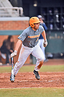 Tennessee Volunteers designated hitter Nico Mascia (35) swings at a pitch during a game against the University of North Carolina Greensboro (UNCG) Spartans at Lindsey Nelson Stadium on February 24, 2018 in Knoxville, Tennessee. The Volunteers defeated Spartans 11-4. (Tony Farlow/Four Seam Images)