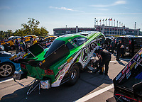 Jun 15, 2018; Bristol, TN, USA; The car of NHRA funny car driver Jonnie Lindberg in the staging lanes during qualifying for the Thunder Valley Nationals at Bristol Dragway. Mandatory Credit: Mark J. Rebilas-USA TODAY Sports