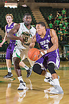 Stephen F. Austin Lumberjacks guard Deshaunt Walker (3) and Vertrail Vaughns (0) in action during the game between the Stephen F. Austin Lumberjacks and the North Texas Mean Green at the Super Pit arena in Denton, Texas. SFA defeats UNT 87 to 53.
