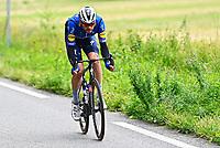July 13th 2021, Saint-Gaudens, Haute-Garonne, France: ASGREEN Kasper (DEN) of DECEUNINCK - QUICK-STEP during stage 16 of the 108th edition of the 2021 Tour de France cycling race, a stage of 169 kms between El Pas de la Casa and Saint-Gaudens.