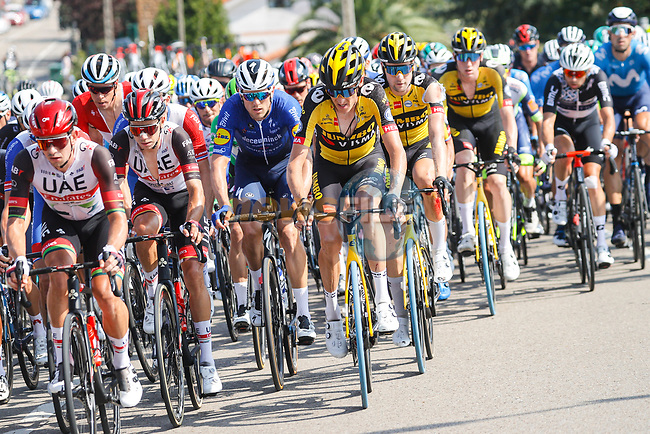 The peloton near the finish of Stage 16 of La Vuelta d'Espana 2021, running 180km from Laredo to Santa Cruz de Bezana, Spain. 31st August 2021.     <br /> Picture: Luis Angel Gomez/Photogomezsport | Cyclefile<br /> <br /> All photos usage must carry mandatory copyright credit (© Cyclefile | Luis Angel Gomez/Photogomezsport)