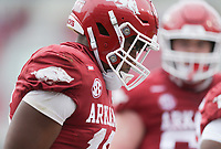 Arkansas wide receiver Treylon Burks (16) reacts after a score, Saturday, November 21, 2020 during the first quarter of a football game at Donald W. Reynolds Razorback Stadium in Fayetteville. Check out nwaonline.com/201122Daily/ for today's photo gallery. <br /> (NWA Democrat-Gazette/Charlie Kaijo)