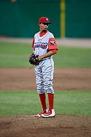 Williamsport Crosscutters relief pitcher Rafael Carvajal (45) gets ready to deliver a pitch during a game against the Batavia Muckdogs on June 21, 2018 at Dwyer Stadium in Batavia, New York.  Batavia defeated Williamsport 6-5.  (Mike Janes/Four Seam Images)