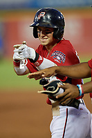Potomac Nationals Cole Freeman (2) gestures to teammates during a Carolina League game against the Myrtle Beach Pelicans on August 14, 2019 at Northwest Federal Field at Pfitzner Stadium in Woodbridge, Virginia.  Potomac defeated Myrtle Beach 7-0.  (Mike Janes/Four Seam Images)
