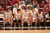 25 February 2006: Brooke Smith, Krista Rappahahn, Kristen Newlin, Jillian Harmon, and Candice Wiggins during Stanford's 78-47 win over the Washington State Cougars at Maples Pavilion in Stanford, CA.