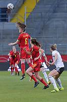 Belgian Tine De Caigny (6) pictured during a friendly female soccer game between the national teams of Germany and  Belgium , called the Red Flames  in a pre - bid tournament called Three Nations One Goal with the national teams from Belgium , The Netherlands and Germany towards a bid for the hosting of the 2027 FIFA Women's World Cup , on Sunday 21 st of February 2021  in Aachen , Germany . PHOTO SPORTPIX.BE   SPP   STIJN AUDOOREN