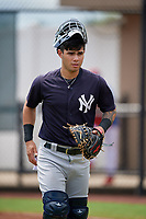 GCL Yankees East Antonio Gomez (9) during a Gulf Coast League game against the GCL Phillies West on August 3, 2019 at the Carpenter Complex in Clearwater, Florida.  The GCL Phillies West defeated the GCL Yankees East 15-7 in a completion of a game that was originally started on July 26, 2019.  (Mike Janes/Four Seam Images)