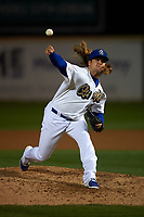 Rancho Cucamonga Quakes relief pitcher Stetson Allie (23) delivers a pitch during a California League game against the Lake Elsinore Storm at LoanMart Field on May 19, 2018 in Rancho Cucamonga, California. Lake Elsinore defeated Rancho Cucamonga 10-7. (Zachary Lucy/Four Seam Images)