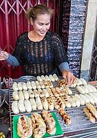 Bangkok, Thailand.  Street Food Vendor Selling Roasted Bananas.