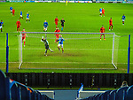 26.11.2020 Rangers v Benfica: Keeper tips the ball over the bar as Kemar Roofe closes in