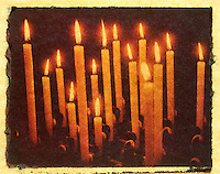 Votive Candles in the Basilica of Santa Croce - Polaroid Transfer, Florence, Italy