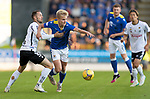 St Johnstone v Lask…26.08.21  McDiarmid Park    Europa Conference League Qualifier<br />Ali McCann is fouled by Rene Renner<br />Picture by Graeme Hart.<br />Copyright Perthshire Picture Agency<br />Tel: 01738 623350  Mobile: 07990 594431