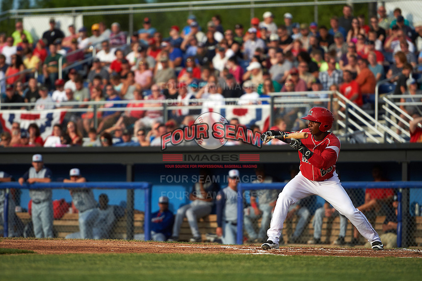 Batavia Muckdogs shortstop Samuel Castro (25) squares to bunt during a game against the Brooklyn Cyclones on July 4, 2016 at Dwyer Stadium in Batavia, New York.  Brooklyn defeated Batavia 5-1.  (Mike Janes/Four Seam Images)