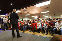 Pictured: Jeremy Corbyn speaks to supporters at Barry Island Sports and Social Club. Saturday 07 December 2019<br /> Re: Labour Party leader Jeremy Corbyn pre-election campaign in Barry, south Wales, UK.