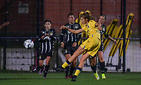 Marie Minnaert (13) of Club Brugge pictured in a attempt on goal in front of Alysson Duterne (14) of Sporting Charleroi during a female soccer game between Sporting Charleroi and Club Brugge YLA on the sixth matchday in the 2021 - 2022 season of Belgian Scooore Womens Super League , friday 8 October 2021 in Marcinelle , Belgium . PHOTO SPORTPIX | STIJN AUDOOREN
