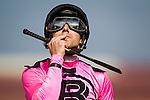 August 22 2015: Joe Talamo celebrates a win in the Pat O'Brien Stakes at Del Mar Race Course in Del Mar CA. Alex Evers/ESW/CSM
