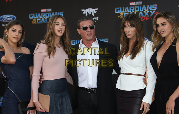 """HOLLYWOOD, CA - April 19: Scarlet Rose Stallone, Sistine Rose Stallone, Sylvester Stallone, Jennifer Flavin, Sophia Rose Stallone, At Premiere Of Disney And Marvel's """"Guardians Of The Galaxy Vol. 2"""" At The Dolby Theatre  In California on April 19, 2017. <br /> CAP/MPI/FS<br /> ©FS/MPI/Capital Pictures"""