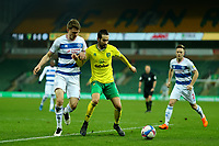 29th December 2020; Carrow Road, Norwich, Norfolk, England, English Football League Championship Football, Norwich versus Queens Park Rangers; Mario Vrancic of Norwich City is under pressure from Rob Dickie of Queens Park Rangers