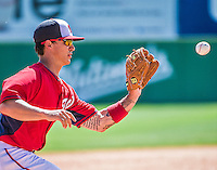 11 March 2014: Washington Nationals infielder Zach Walters gets a Scott Sizemore hopper for the second out of the 7th inning during a Spring Training game against the New York Yankees at Space Coast Stadium in Viera, Florida. The Nationals defeated the Yankees 3-2 in Grapefruit League play. Mandatory Credit: Ed Wolfstein Photo *** RAW (NEF) Image File Available ***