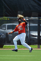 GCL Astros outfielder Daz Cameron (54) catches a fly ball during a game against the GCL Braves on July 23, 2015 at the Osceola County Stadium Complex in Kissimmee, Florida.  GCL Braves defeated GCL Astros 4-2.  (Mike Janes/Four Seam Images)