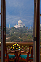 Agra, India.  Taj Mahal from Oberoi Amarvilas Presidential Suite.