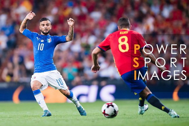Lorenzo Insigne (L) of Italy fights for the ball with Koke (R) of Spain during their 2018 FIFA World Cup Russia Final Qualification Round 1 Group G match between Spain and Italy on 02 September 2017, at Santiago Bernabeu Stadium, in Madrid, Spain. Photo by Diego Gonzalez / Power Sport Images