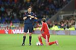 UEFA European Championship at Cardiff City Stadium - Wales v Cyprus : <br /> Gareth Bale of Wales talking to referee Manuel Grafe of Germany.