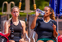 Hilversum, Netherlands, August 5, 2021, Tulip Tennis center, National Junior Tennis Championships 16 and 18 years, NJK, Girls Doubles 18 years, Laurèl Polman (NED) (L) and Bente Bierma (NED) <br /> Photo: Tennisimages/Henk Koster