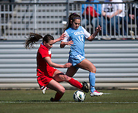 Reilly Parker, Danielle Hubka. The Washington Spirit defeated the North Carolina Tar Heels in a preseason exhibition, 2-0, at the Maryland SoccerPlex in Boyds, MD.