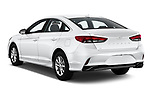 Car pictures of rear three quarter view of 2019 Hyundai Sonata SE 4 Door Sedan Angular Rear