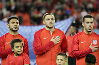 TORONTO, ON - OCTOBER 15: Cristian Roldan #15, Jordan Morris #11 and Daniel Lovitz #5 of the United States during a game between Canada and USMNT at BMO Field on October 15, 2019 in Toronto, Canada.