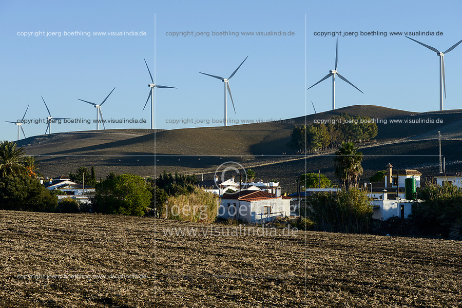Spain, Andalusia, Cadiz, village La Zarzuela, wind farm in the mountains, Vestas wind turbines