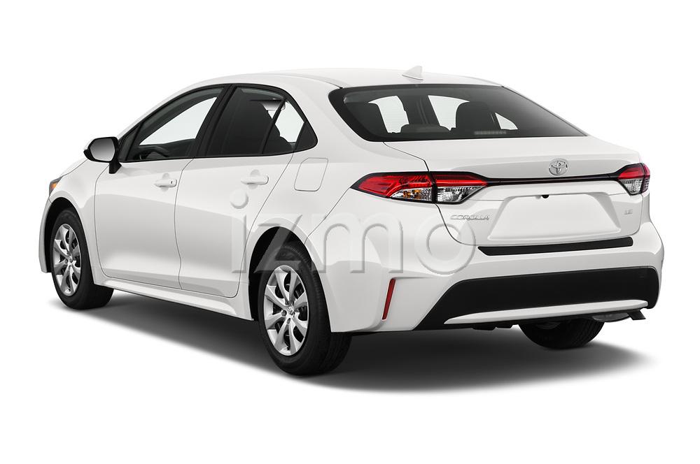 Car pictures of rear three quarter view of 2020 Toyota Corolla LE 4 Door Sedan Angular Rear