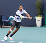 March 26, 2019: Nick Kyrgios (AUS) is defeated by Borna Coric (CRO) 6-4, 3-6, 2-6, at the Miami Open being played at Hard Rock Stadium in Miami, Florida. ©Karla Kinne/Tennisclix 2010/CSM