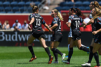 BRIDGEVIEW, IL - JUNE 5: Morgan Gautrat #13 of the Chicago Red Stars celebrates a goal by Rachel Hill #5 (not pictured) with Kealia Watt #2 during a game between North Carolina Courage and Chicago Red Stars at SeatGeek Stadium on June 5, 2021 in Bridgeview, Illinois.