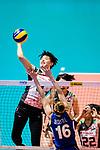 Haruyo Shimamura of Japan attacks during the FIVB Volleyball Nations League Hong Kong match between Japan and Italy on May 29, 2018 in Hong Kong, Hong Kong. Photo by Marcio Rodrigo Machado / Power Sport Images