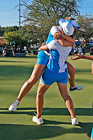 6th September 2021: Toledo, Ohio, USA;  Emily K. Pedersen of Team Europe hugs her caddy on the 18th green and celebrates winning her match and Europe winning the Solheim Cup on September 6, 2021 at Inverness Club in Toledo, Ohio.