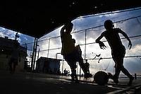 Daily life at Morro da Providencia, a favela in Rio de Janeiro downtown. Children play soccer.