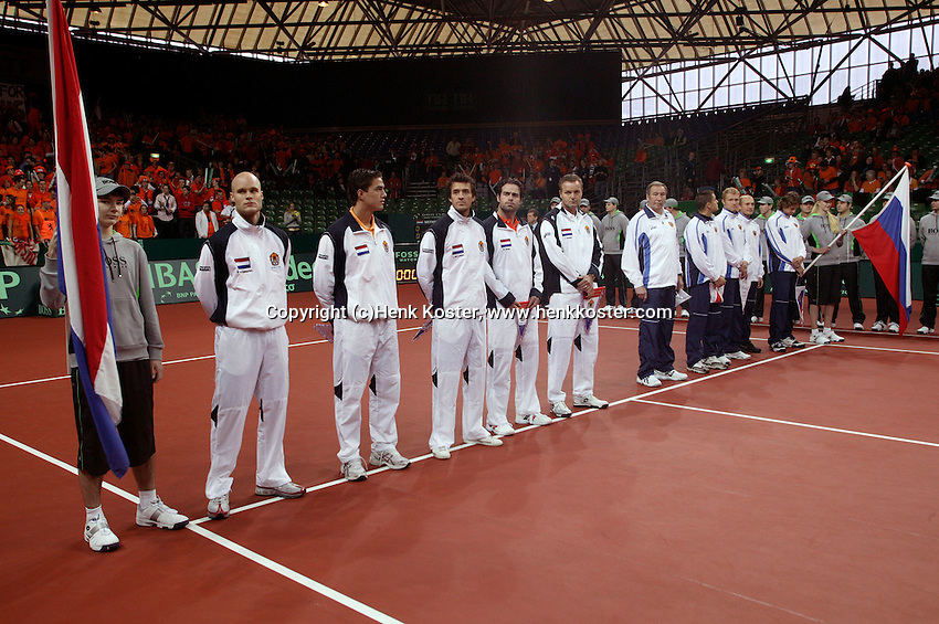 10-2-06, Netherlands, tennis, Amsterdam, Daviscup.Netherlands Russia, Openings ceremony, line up