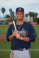 GCL Braves Vaughn Grissom (12) poses for a photo before a Gulf Coast League game against the GCL Orioles on August 5, 2019 at Ed Smith Stadium in Sarasota, Florida.  GCL Orioles defeated the GCL Braves 4-3 in the second game of a doubleheader.  (Mike Janes/Four Seam Images)